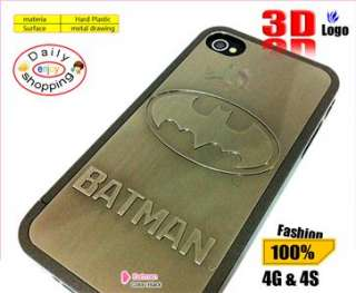 3D Strong BATMAN LOGO AVENGER Metal Skin Hard Case Cover f iPhone 4S