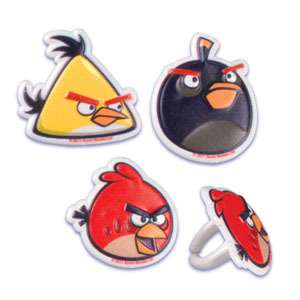 12 ANGRY BIRDS party CUPCAKE rings FAVORS birthday BALLOONS avail CAKE