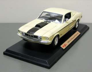 1968 Ford Mustang GT Cobra Jet Diecast Model Yelow 118