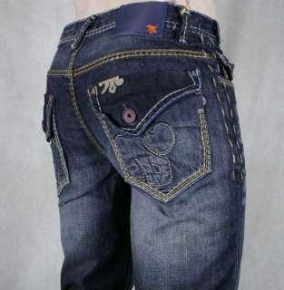 MEK Denim Jeans Mens KHORA Relaxed Dark Blue Straight saddle stitch