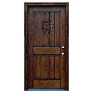 Main Door Rustic 36 in. x 80 in. Left Hand Inswing Mahogany Type 2 V