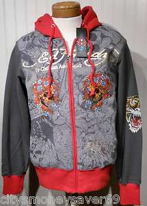 NWT Ed Hardy Dead Or Alive Mens Platinum Hoodie S Charcoal/Orange MSRP