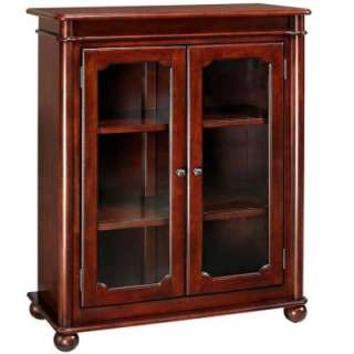 in. W Cambridge Cherry 3 Shelf Bookcase with Glass Door_DISCONTINUED