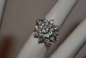 White Gold 1ctw Diamond Cluster Ring & Appraisal Value 2K