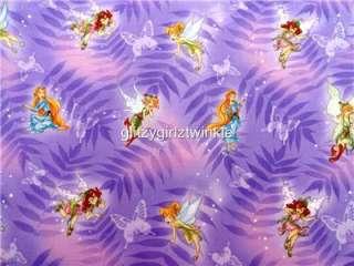 New Disney Fairy Tinkerbell Fabric BTY Tink Purple Cartoon Movie