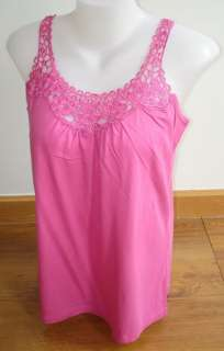 NEW GEORGE PINK LACE TANK TOP SLEEVELESS SIZE L NWT