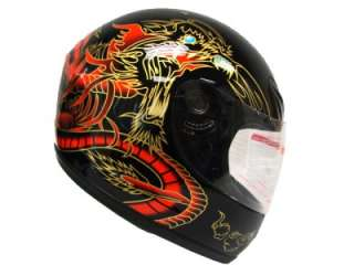 FULL FACE MOTORCYCLE HELMET BLACK CHINESE DRAGON DOT~L
