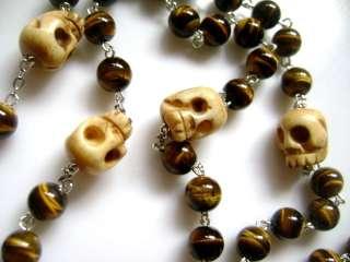 RARE Old Bone Skulls Tiger Eye Jade ROSARY CROSS