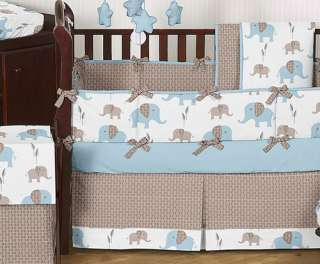 CHEAP BLUE BROWN ELEPHANT BABY BEDDING CRIB SET BOY ROOM COLLECTION