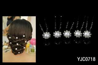 WEDDING BRIDAL PEARL CRYSTAL RHINESTONE HAIR PINS PIN ZA718