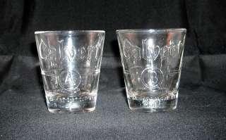 SET OF 2 CALVERT SHOT GLASSES EMBOSSED A & B