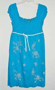 Girls Summer Peasant Style Dress Blue Plus Size 16 1/2 New