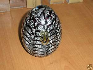 Murano Italy crystal egg paperweight black & silver