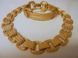 Vintage Monet Designer Gold Plate Necklace Bracelet Set