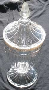 EAPG CLEAR HEISEY ELEGANT GLASS LARGE FTD. COVERED CANDY JAR