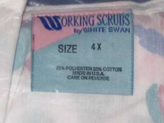 Swan Uniform Nursing or Dental Scrub Jacket Top Sz. 3X 4X Long Sleeve