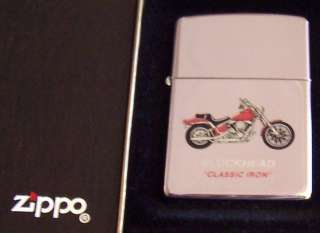 ZIPPO Lighter Blockhead Classic Iron Harley Motorcycle HiPol Chrome