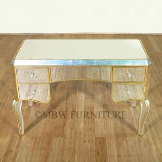 Silver/Gold Finish Mirrored Glass Vanity Table Desk mcd002ag