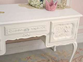 Shabby Cottage Chic White Vanity Desk Table French Rose Style