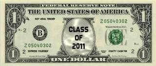 CLASS OF 2011 Novelty U.S. Dollar Bill Bookmark