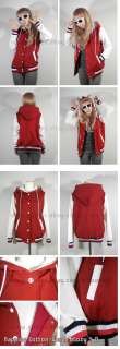 Womens New Hoodie Baseball Jacket (Dark Red&White/XS,S~M,L/Quality