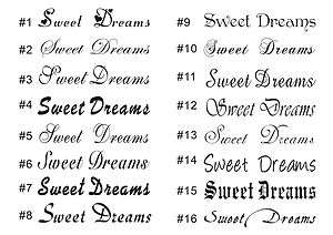 Sweet Dream saying vinyl sticker wall decor home Quote room decal 4x24