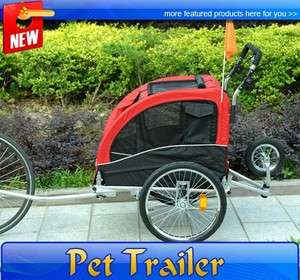 New Double Space Deluxe Pet DOG BIKE Bicycle Trailer STROLLER CARRIER