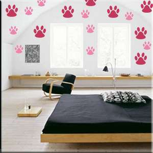 50 Paw Prints Vinyl Wall Decor Dot Stickers One Color