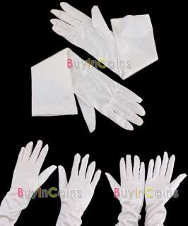 Pair White Satin Wedding Party Long Evening Suit Gloves