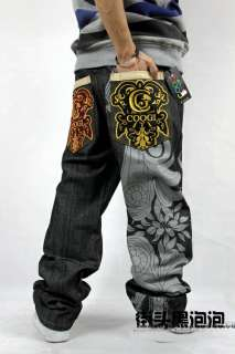 Graffiti Embroidery Mens Hip Hop Jeans Casual Pants Skateboard Pants