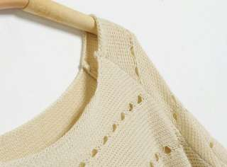 Korea Women Boat Neck 3/4 Sleeve Hollow Jumpers Sweater Knitted Knit