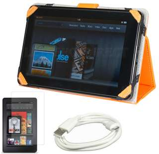 Leather Stand Case Cover for  Kindle Fire+LCD Guard+USB Cable