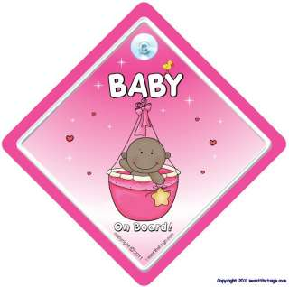 Baby On Board Car Sign PINK BASKET ETHNIC Baby On Board