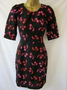 Sugarhill Boutique Sz L 14 Cherry Bomb Shift Dress Black Red Pink