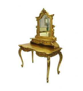 French Furniture Dressing Table & Mirror Gold Boudoir
