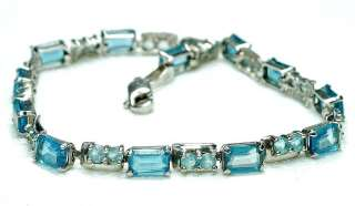 Estate 14k White Gold & Blue Topaz Ladies line Bracelet