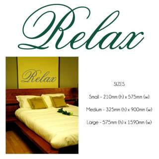 RELAX Wall Sticker Decal 3   Bedroom Decor  19 Colours