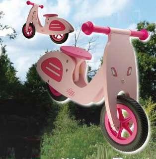 Vélo en bois sans pédales  draisienne  Rose style Vespa