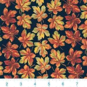 45 Wide Autumn Glory Maple Leaves Black Fabric By The