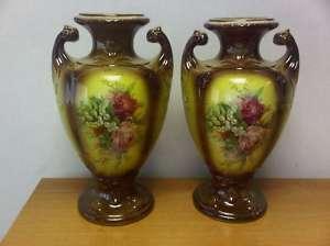 Beautiful Pair of Antique Vases   Nice Flower Design