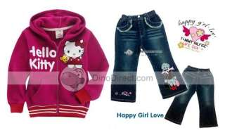 Wholesale Girls Cotton Hello Kitty Pattern Front Pockets Hooded