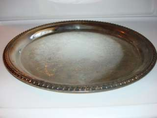 VINTAGE WM ROGERS ROUND SILVER PLATED SERVING TRAY