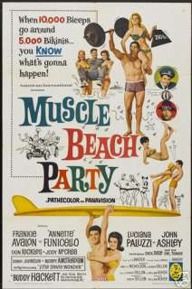 MUSCLE BEACH PARTY MOVIE POSTER Frankie Avalon VINTAGE