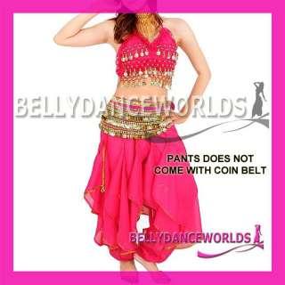 BELLY DANCE COSTUME HAREM GENIE PANTS GOLD/SILVER TRIM CHIFFON