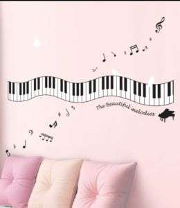 Wall sticker mural partition musique piano 40x140cm