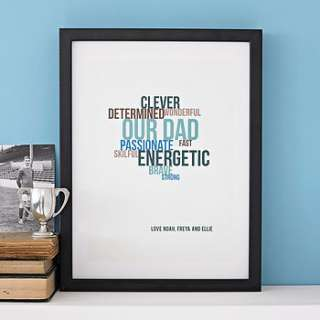 personalised typographic personality print by open box design