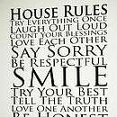 personalised family house rules wall vinyl by lucyslocket