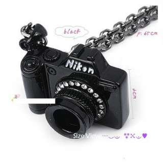 Unique crystals black camera pendent Chain Pendant necklace for