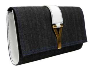 YSL Yves Saint Laurent Large CHYC Clutch in Denim White Leather Purse