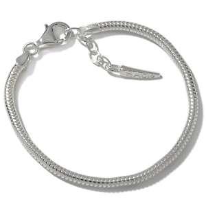 Bacio Sterling Silver Snake Chain Charm Bracelet
